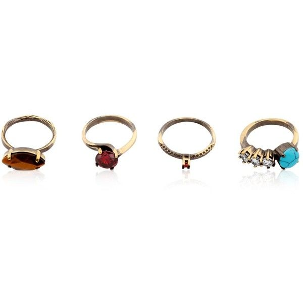 Iosselliani Women Gyster Set Of 4 Rings ($240) ❤ liked on Polyvore featuring jewelry, rings, multi, iosselliani, iosselliani jewelry and iosselliani rings