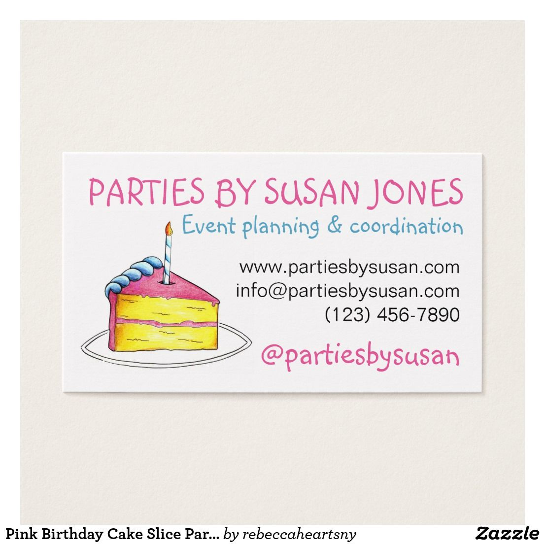 Pink Birthday Cake Slice Party Event Planner Business Card