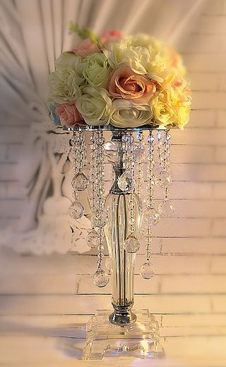 Free Shipping Acrylic Crystal Wedding Centerpiece Table 39cmTall Candle Holder 49800