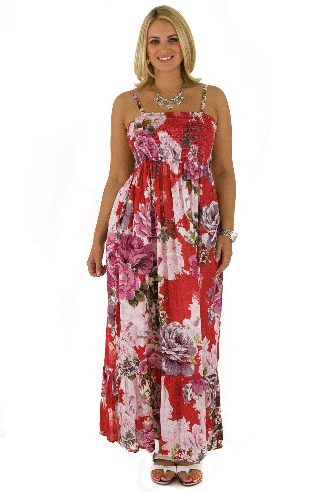 Pink printed bandeau maxi dress maybe clothes ideas pinterest