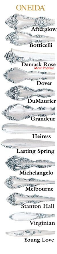 Damask Rose By Oneida Silver Flatware At Affordable Prices Active And Discontinued Flatware Patterns Oneida Flatware Stainless Flatware Oneida stainless steel flatware patterns