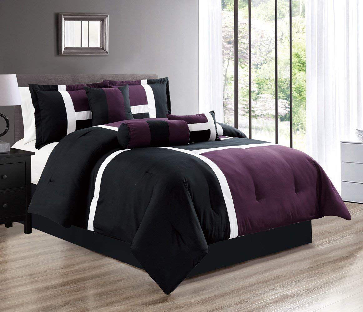 Purple black white color block emma comforter set