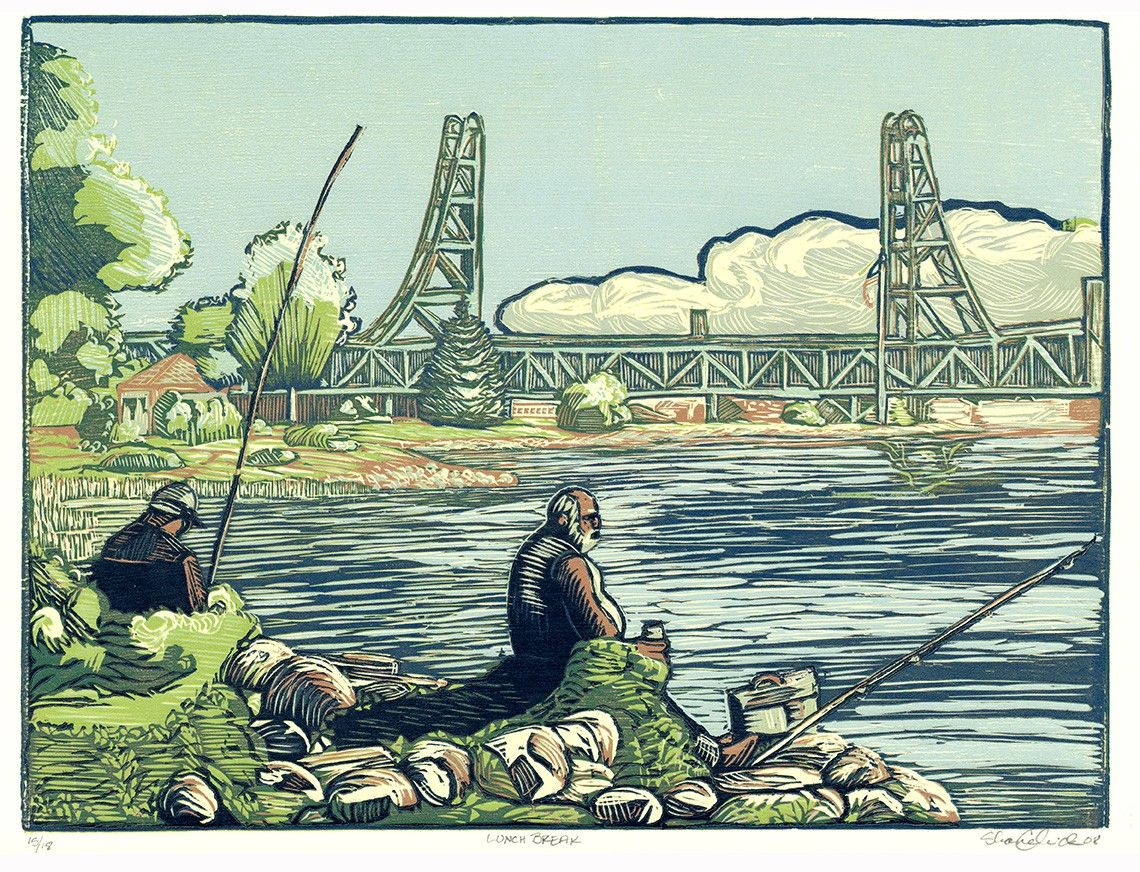 Awesome woodcuts. Lunch Break on the Piscataqua Memorial Bridge by chickfamilyink. , via Etsy.