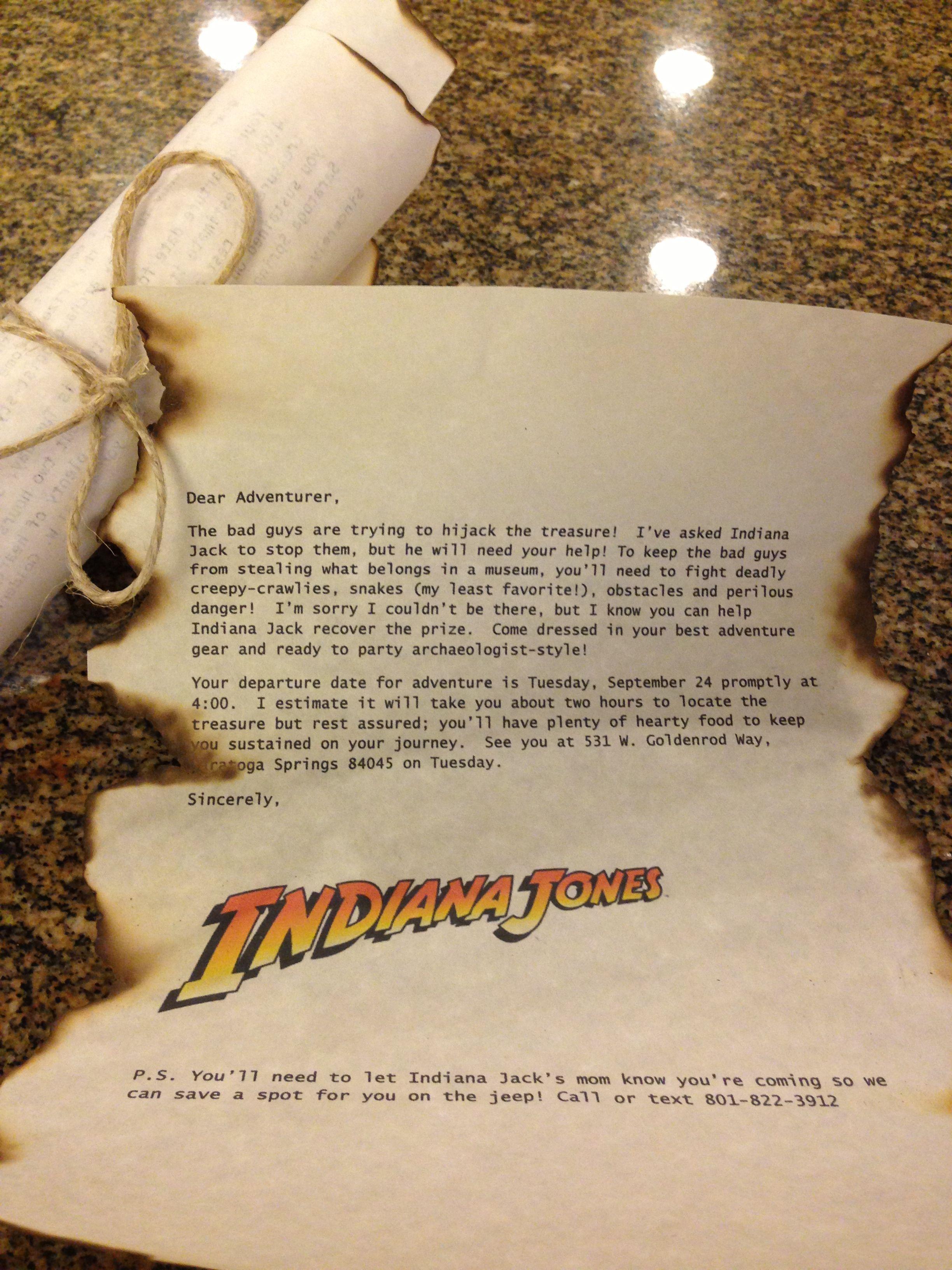 Indiana Jones birthday invitations. Clever!