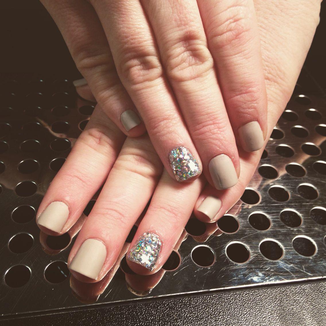 Morgan Taylor nail polish  with matte top coat,with glitter accent nail