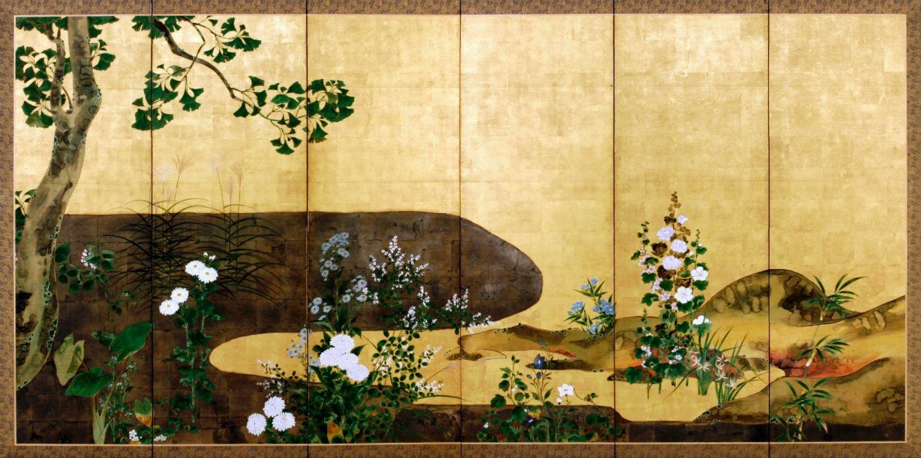Detail. Chrysanthemum and Ginkgo Tree. Japanese folding screen. Ink ...