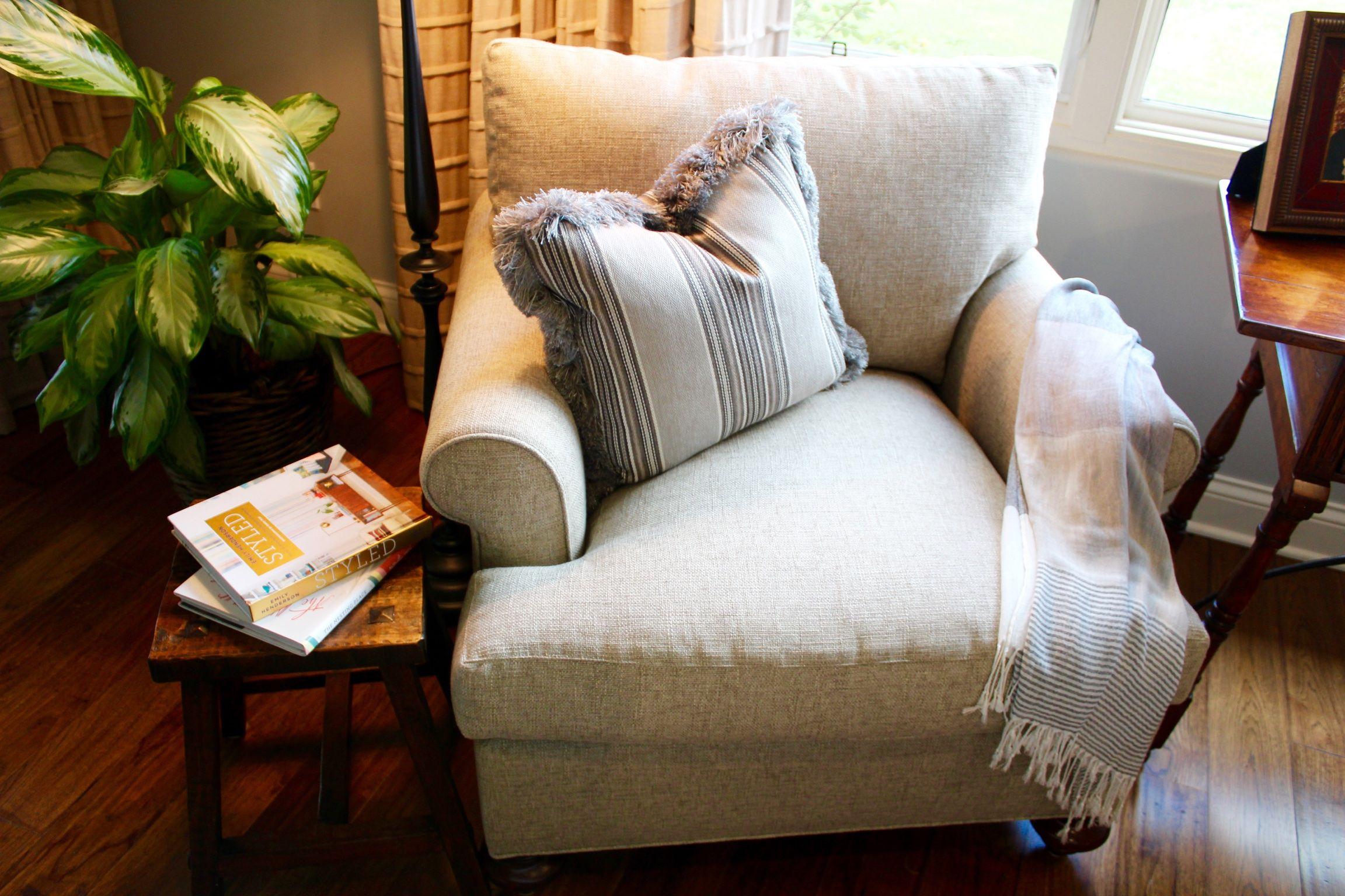 reading corner, armchair, wooden stool. gray. 7990 doug hill, san