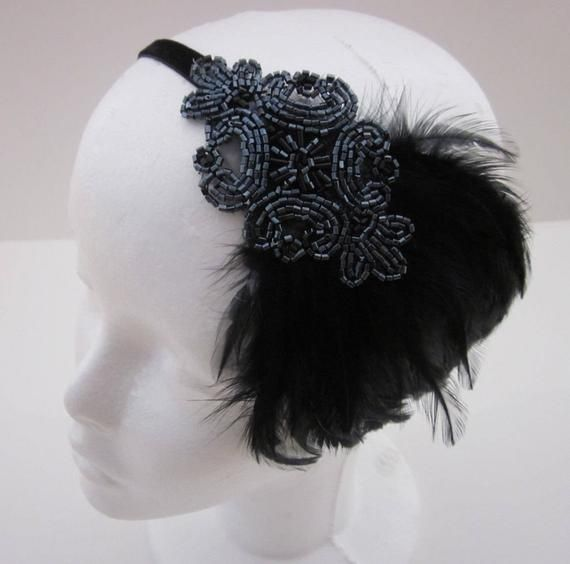 Items Similar To Art Deco Fashion Black And Grey Flapper: Great Gatsby Headband, Black Feather Headband Gray Flapper