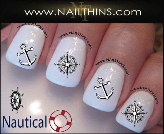 NAUTICAL Nail Decals Anchor Wheel Compass rose nail art designs by ...