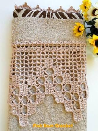 Cenefa crochet para toalla de ba o puntillas ganchillo pinterest cortinas de ganchillo - Cenefas de crochet ...