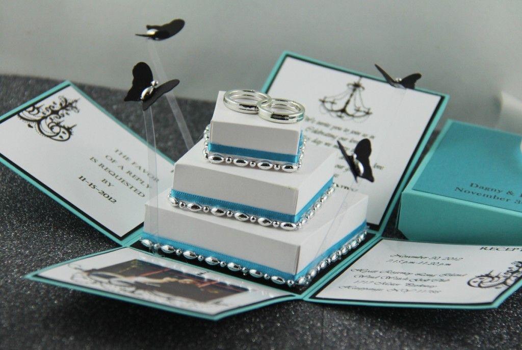 Tiffany Blue Wedding Invitations Order Exploding Box Invitation 50 Set Of