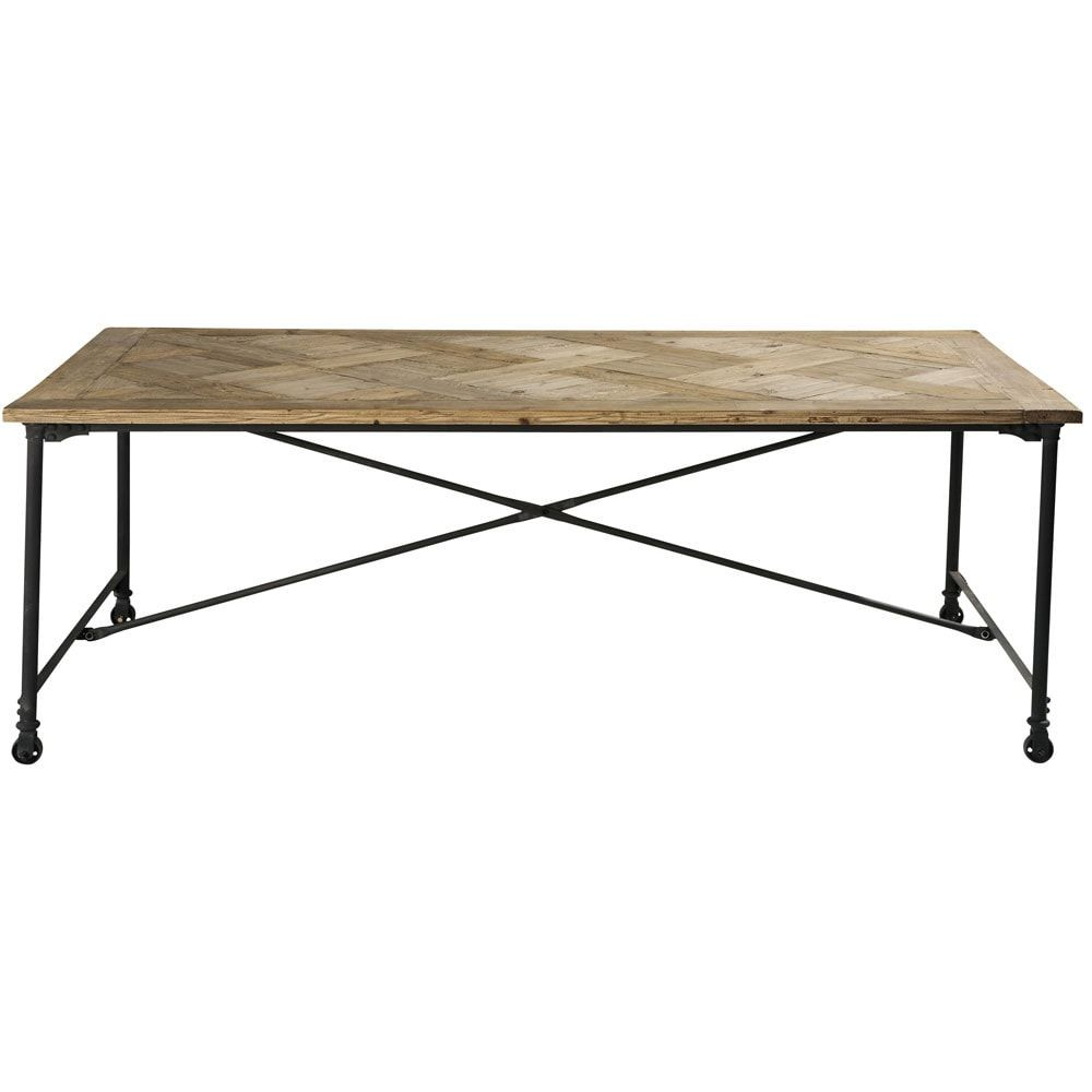 Recycled Pine and Metal Dining Table W 220cm | Furniture and Home ...
