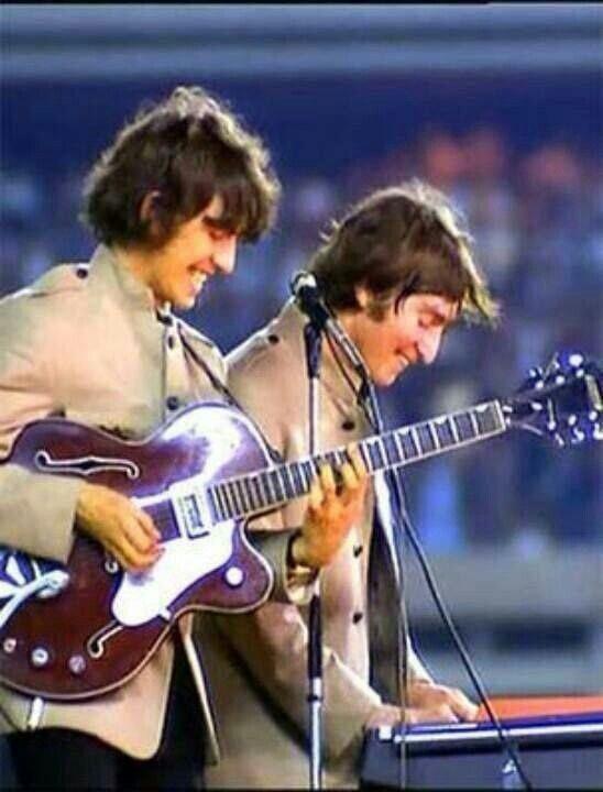 george and john at shea stadium 1965 the beatlesjohn