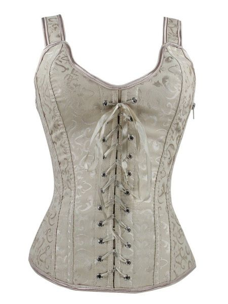 3e1b340a852 White Bridal Corset Lace Up Overbust Wedding Corsets