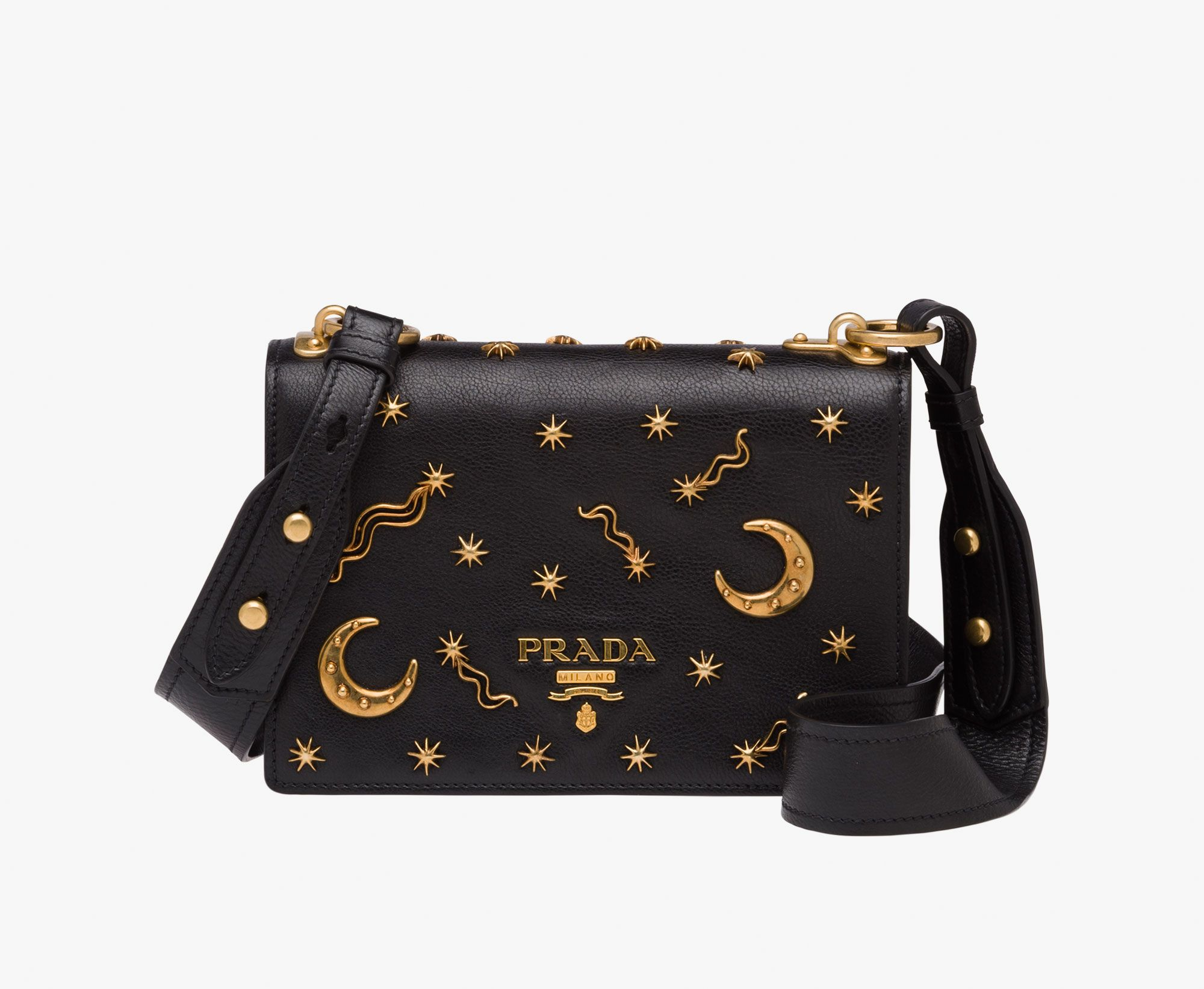 Calf leather shoulder bag embellished with star and moon appliqués Leather… 5bf53061cf7a4