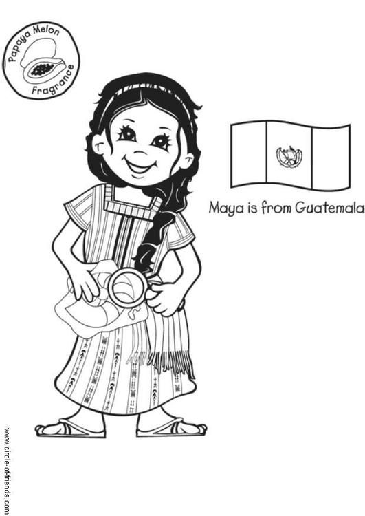 Coloring Page Maya From Guatemala Coloring Picture Maya From