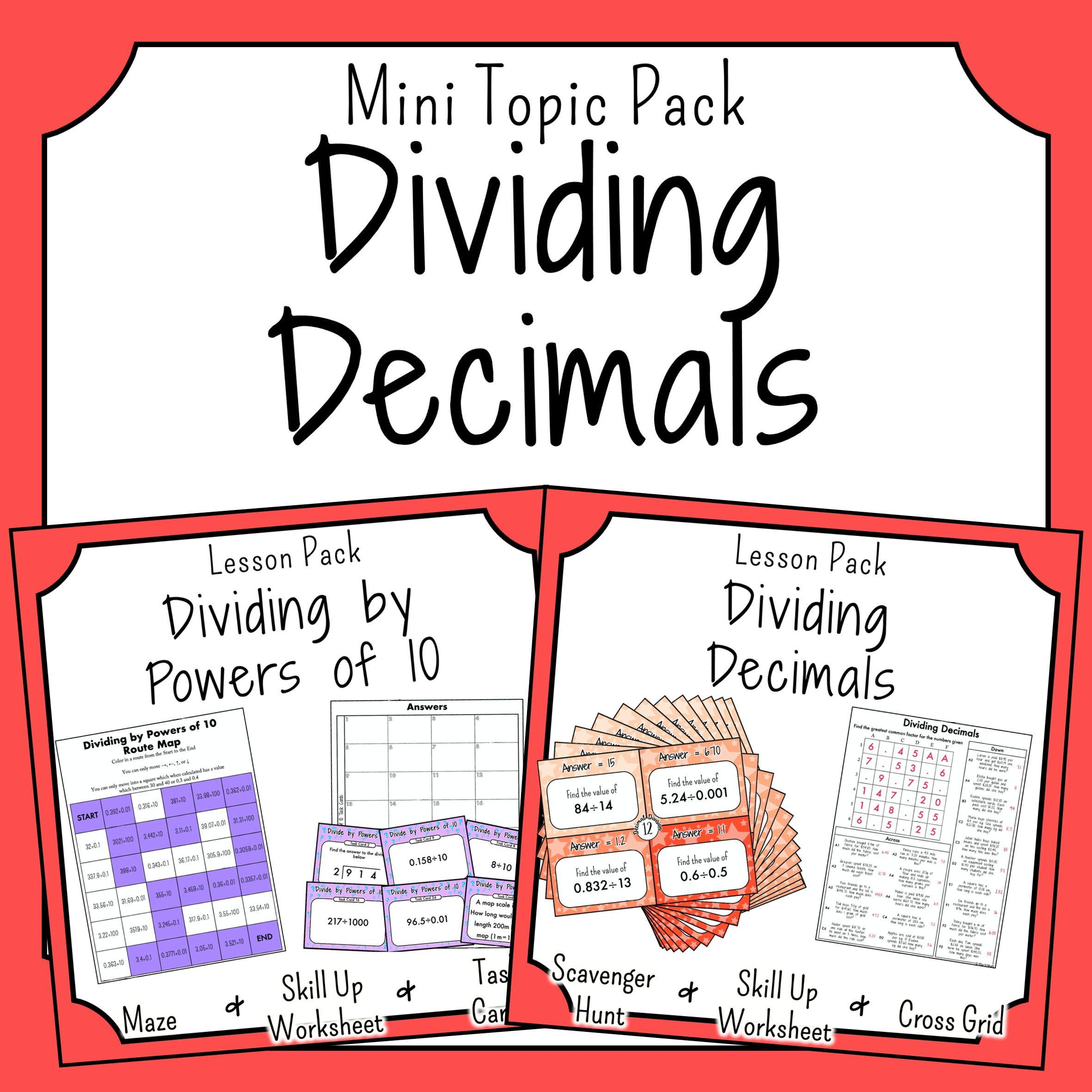 Division Of Decimals Bundle In