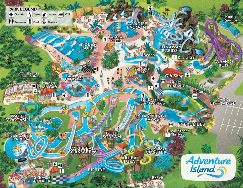 Map Adventure Island Tampa Waterpark Island Water Park Islands Of Adventure Theme Park Map