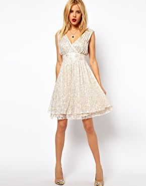 Asos Skater Dress With Fl Beading Deep V Neck