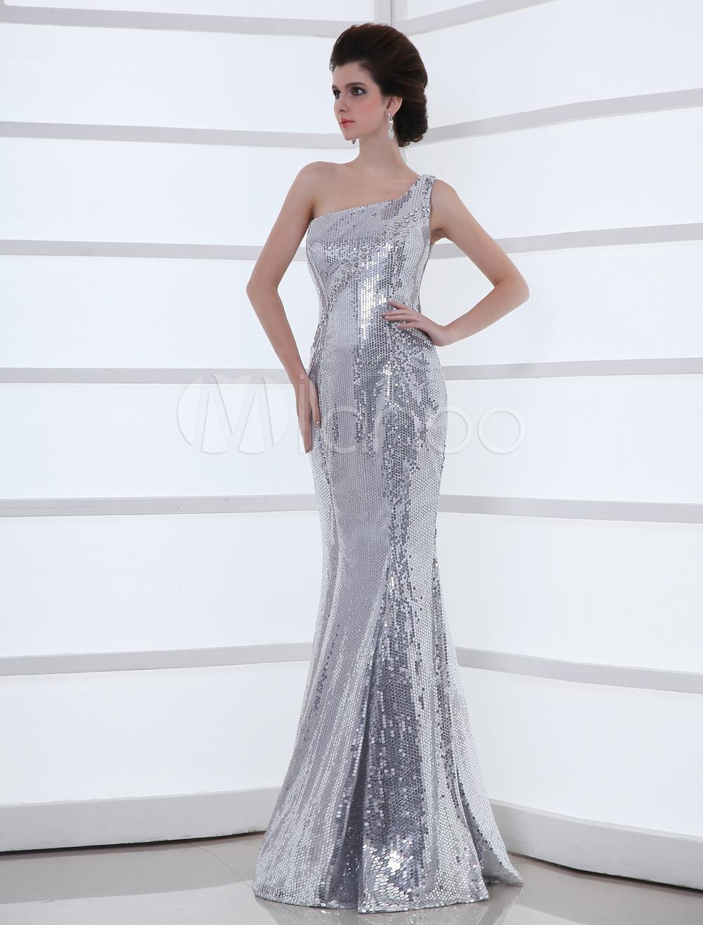 a86760f15 Vestido de noche de color plateado con lentejuela de estilo de sirena