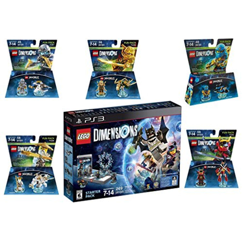 Lego Dimensions Ninjago Starter Pack Jay Lloyd Nya Zane Sensei Wu Fun Packs For Playstation 3 Nintendo Wii U Console Lego Dimensions Ps4 Pro Console
