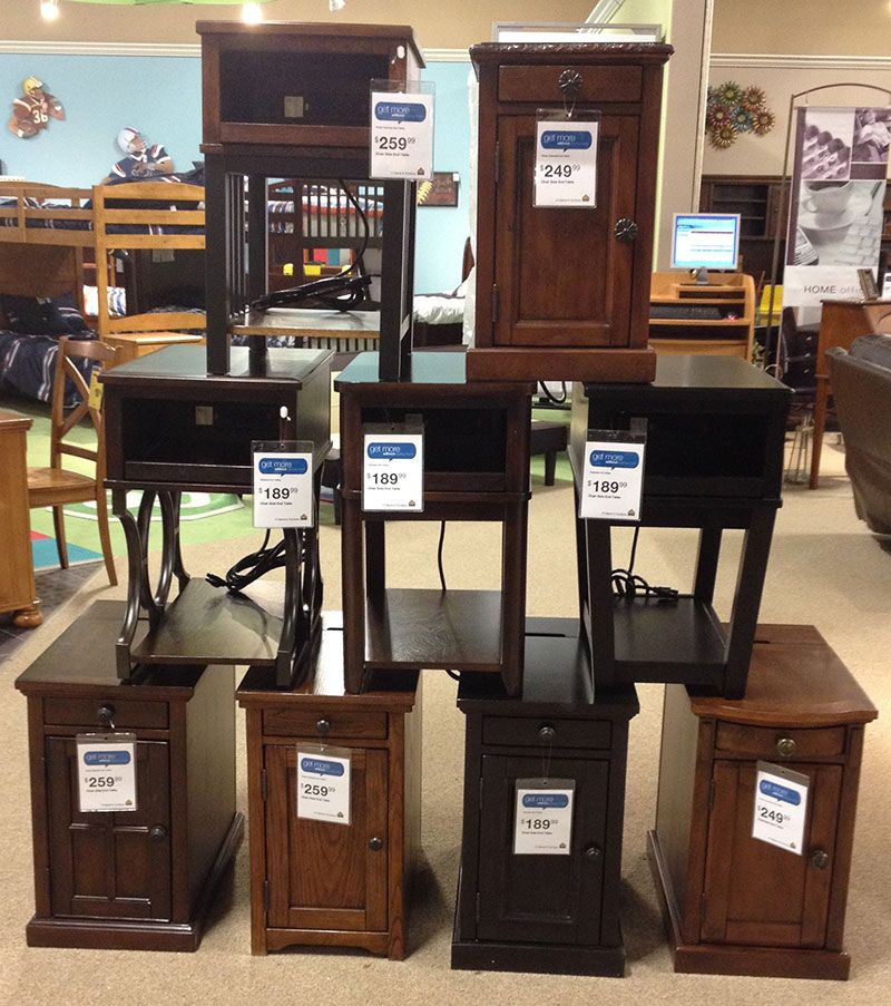 Side End Tables Complete With Electrical Outlets To Plug In Cell Phone Tablets And