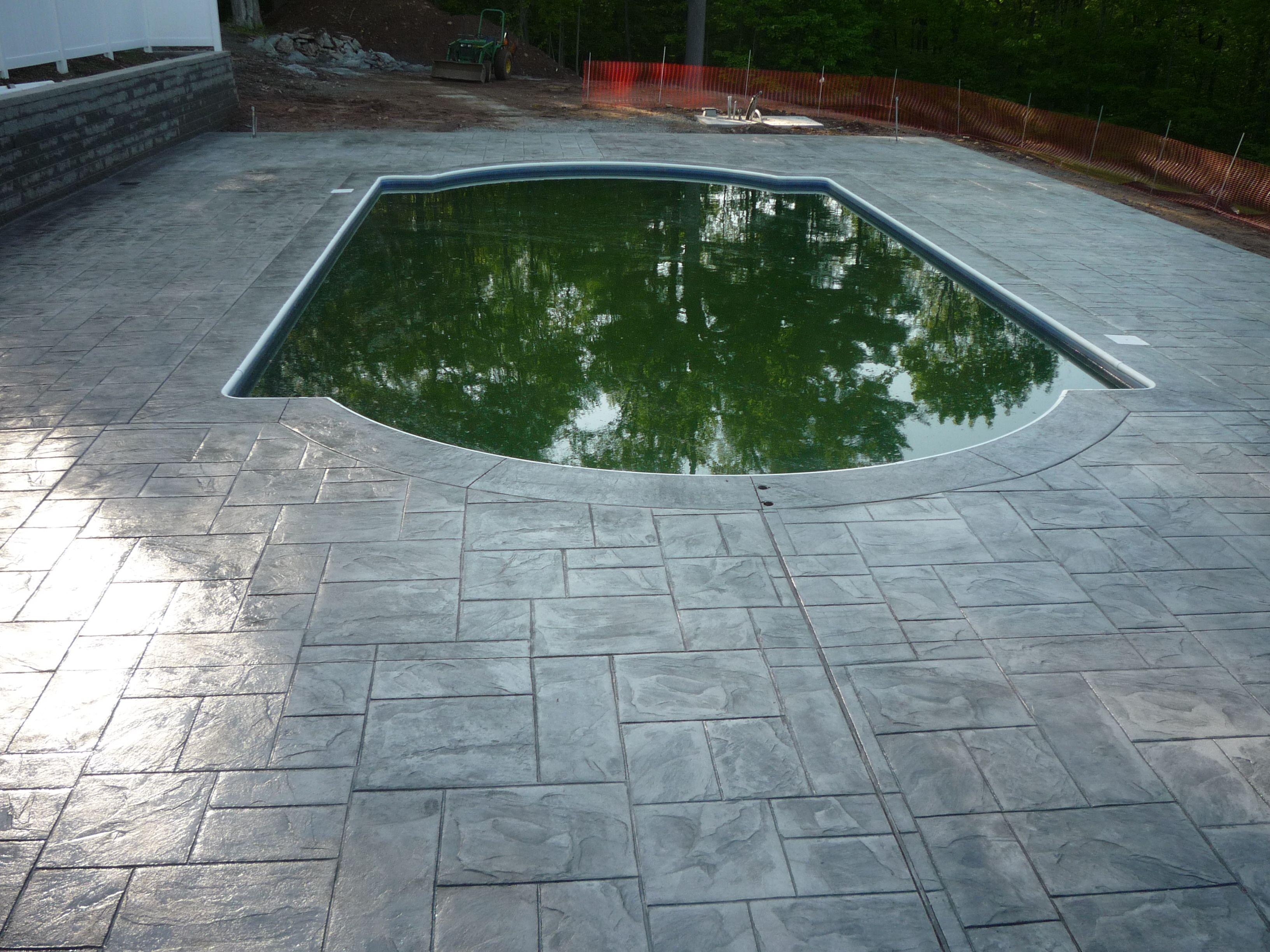 Stamped Concrete Pool Surround Concrete Pool Pool Remodel Pool