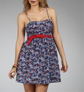 Navy/Red Floral Print Spring Dresses