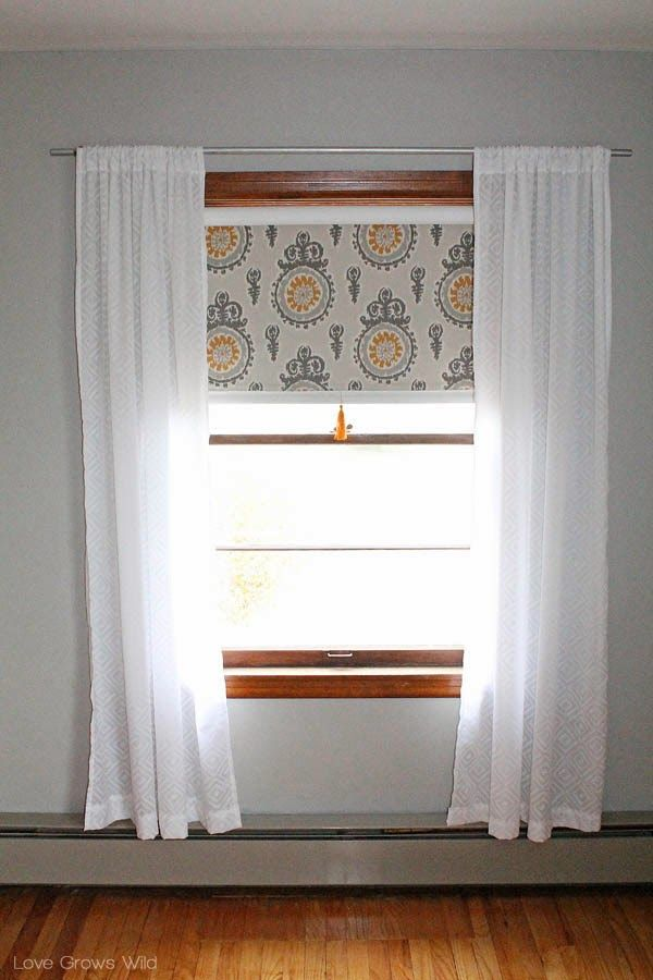 Fabric Covered Roller Shades With Handmade Tassel Fabric