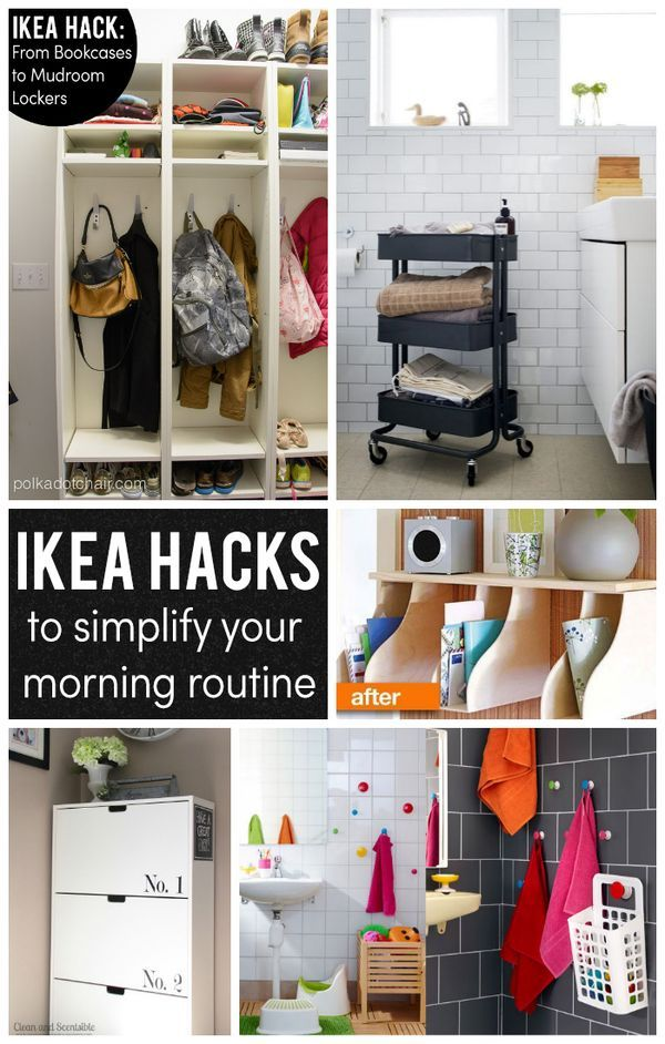 ikea hacks to simplify your morning routine top organizing bloggers pinterest inredning. Black Bedroom Furniture Sets. Home Design Ideas