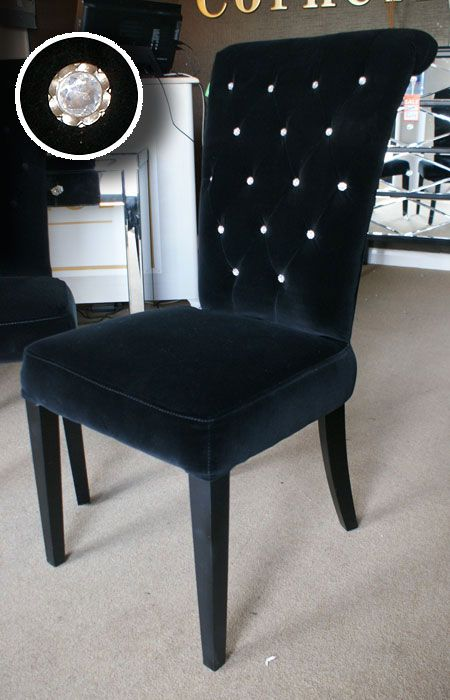 Black Velvet Rolltop Dining Chair Crystal Buttons I\'d like to have ...