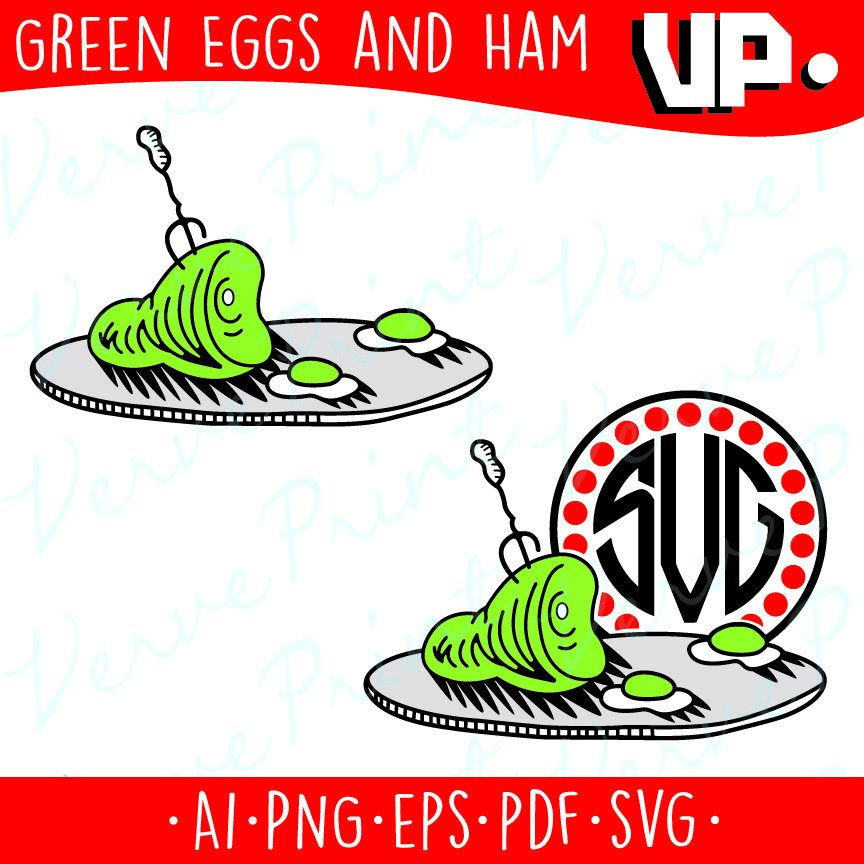 Green Eggs and Ham Monogram Svg, Dr Seuss, Cat In The Hat Svg, Ai