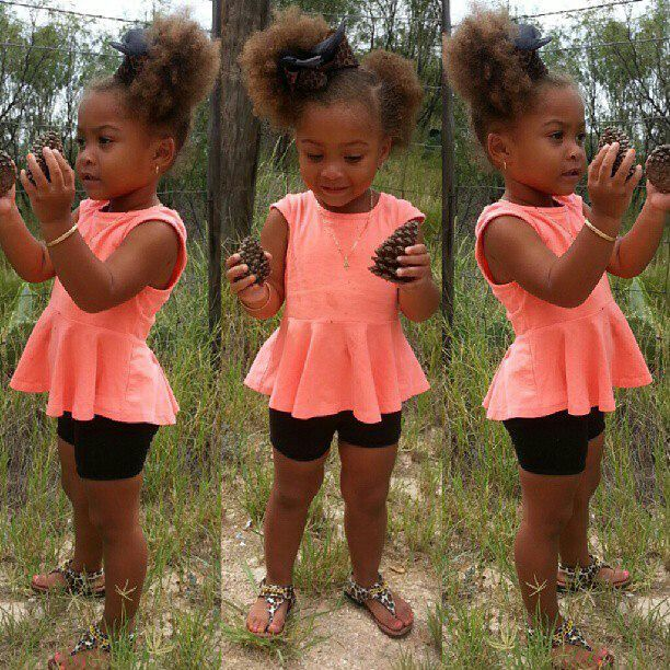 Awesome Peplum And Afro Puffs Little Girl Fashion Kids Outfits Kids Natural Hairstyles Runnerswayorg