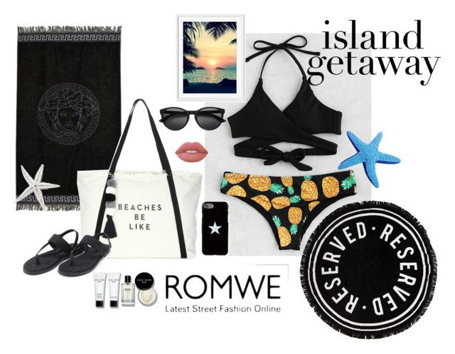 """""""Island getaway"""" by gorlmoria ❤ liked on Polyvore featuring Versace, Milly, Bobbi Brown Cosmetics, Givenchy and Lime Crime"""