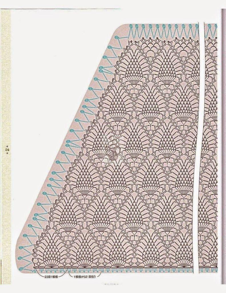 Patrones y moldes para tejer un chal en punto piña con un diseño ...
