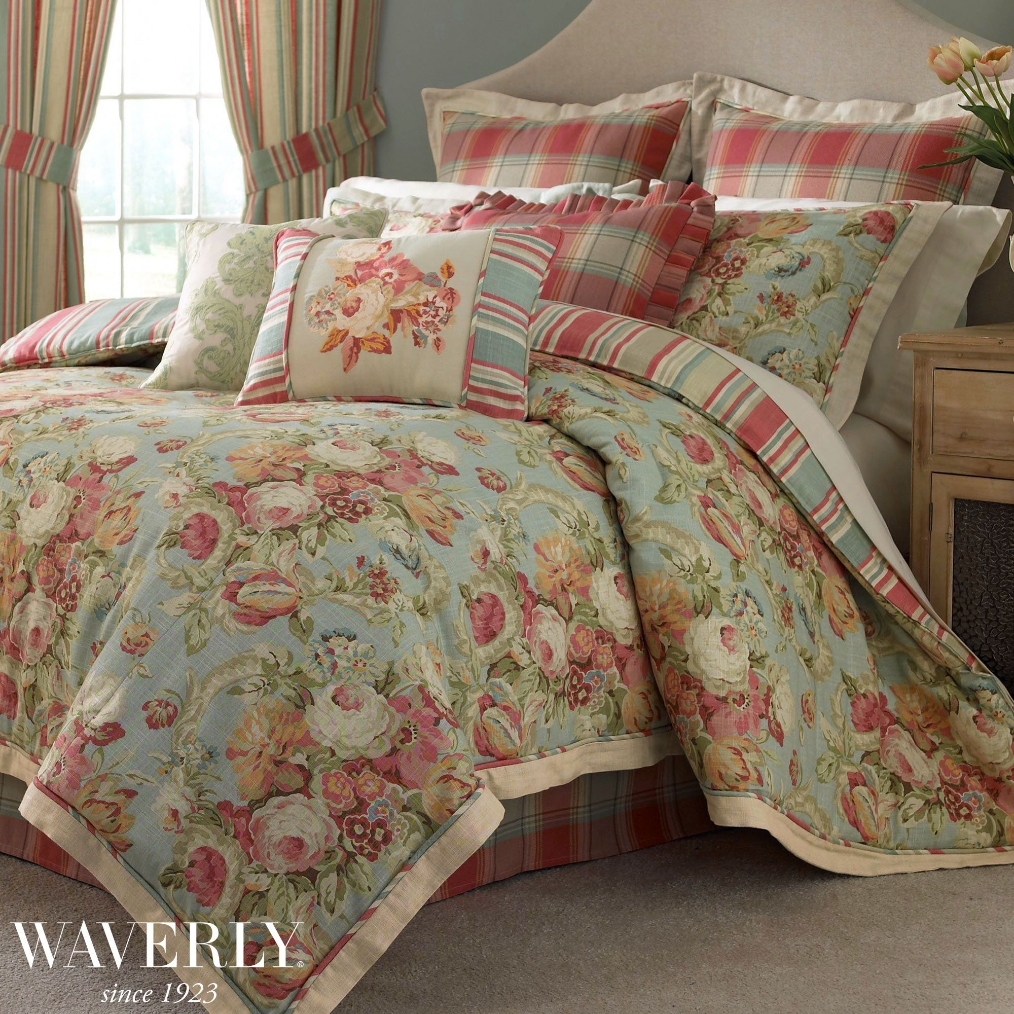 Spring Bling Floral Comforter Bedding by Waverly Luxury
