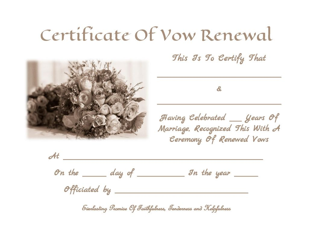 Vow Renewal Certificate Template  Anniversary Certificate Template