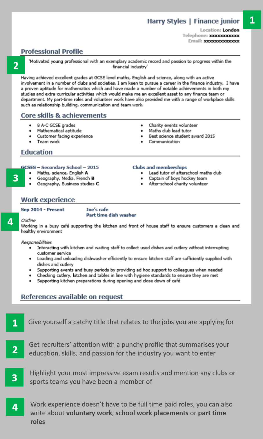 School Leaver CV Example Page 1 School Leavers Resume