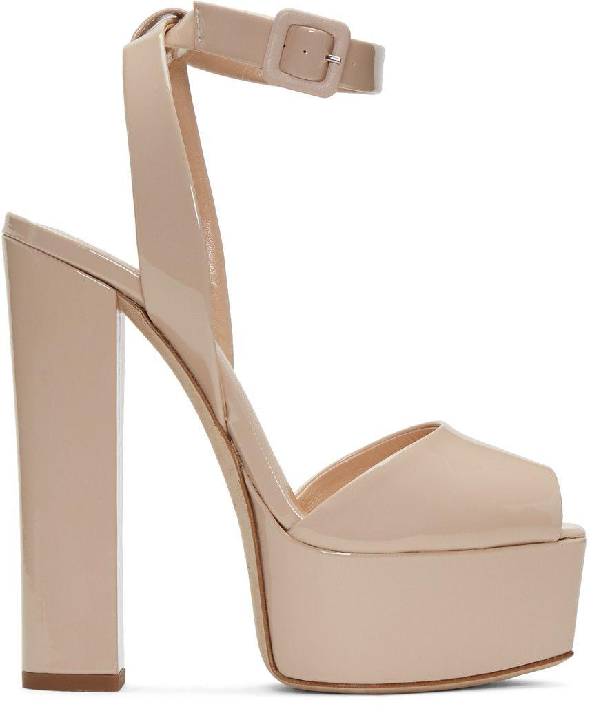 4b211136b306 GIUSEPPE ZANOTTI Beige Patent Lavinia Platform Sandals.  giuseppezanotti   shoes  sandals