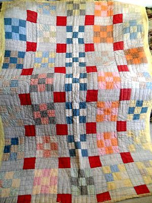 Vintage Antique Handmade Quilt Nine Block Feed Sack 30s Kentucky Patchwork Quilt | eBay
