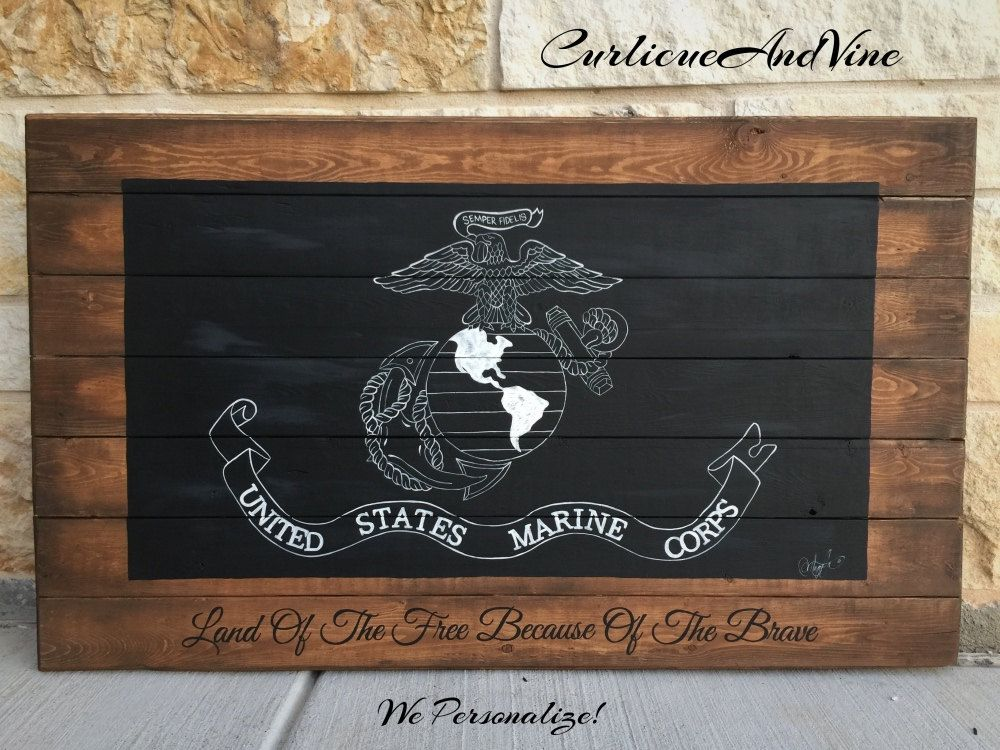 United States Marine Corps Flagusmcpallet Boardmilitary Wall Rhpinterest: Usmc Home Decor At Home Improvement Advice