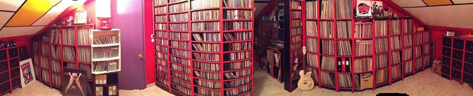 IDigs- Record Collecting Blog Introducing - The best panoramic collection shot I've seen. I know some major collections have been posted, but the layout of Oscar Garcia's collection is as unique as his colour scheme.   Thank you for passing this on, Oscar. Beautiful!