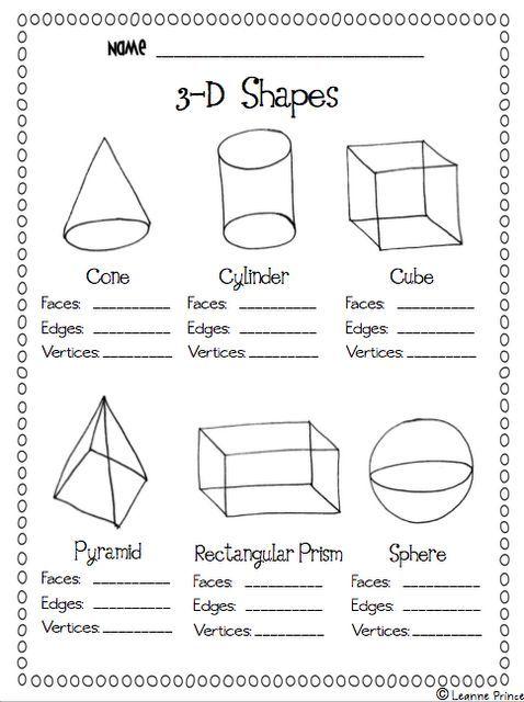 3d Shapes Shapes Worksheet Kindergarten Teaching Math Math School Geometry worksheet for 2nd grade