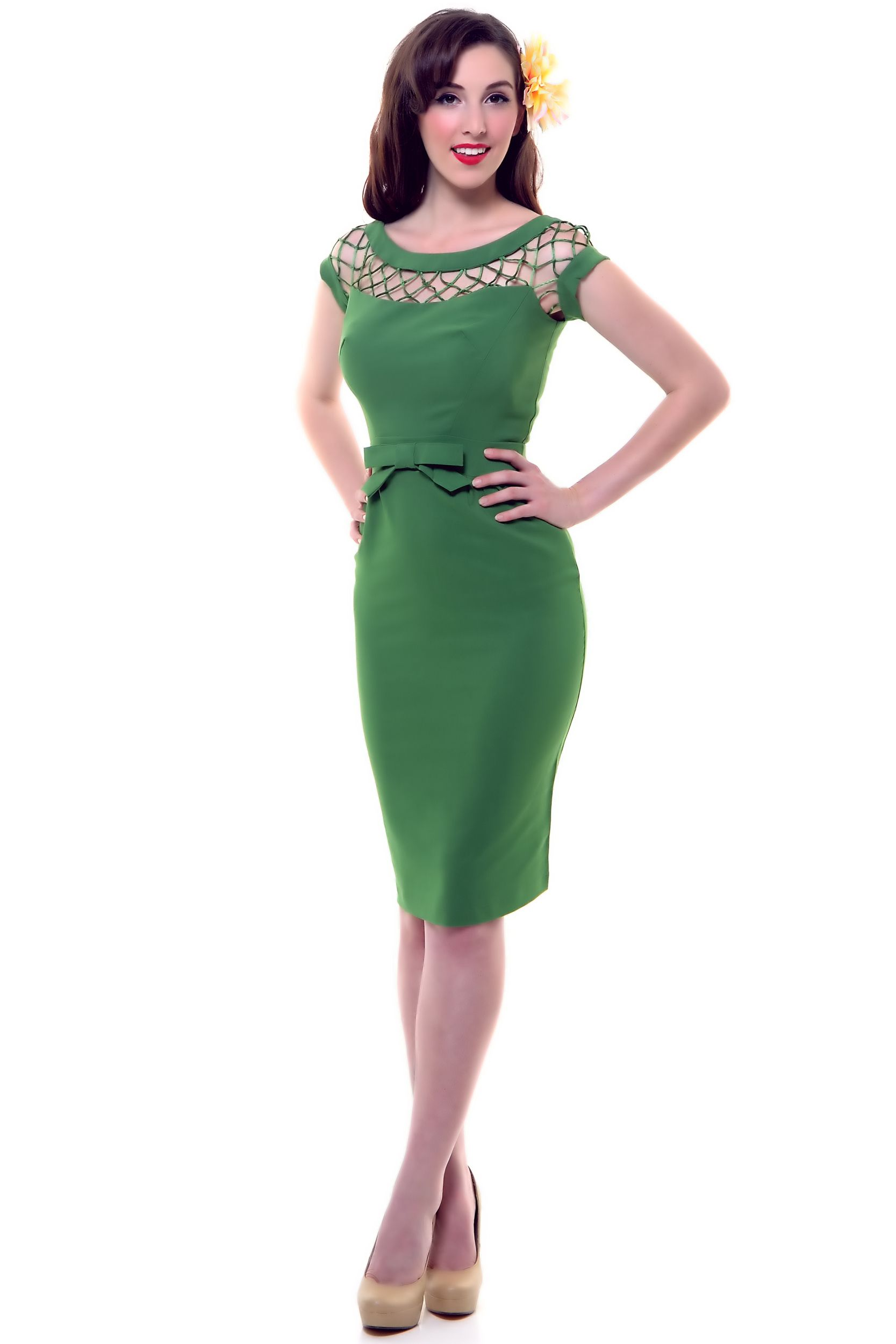 Green Alika Pencil Skirt Wiggle Dress - Unique Vintage ...