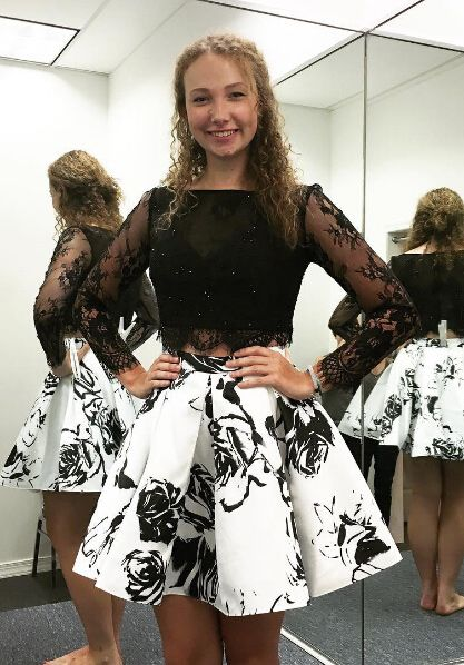 9481cb347 The skirt with a white crop top. The skirt with a white crop top Two Piece  Homecoming Dress, Long Sleeve Homecoming Dresses