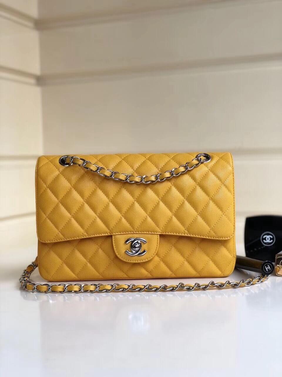 Chanel Grained Calfskin Medium Classic Flap Bag A1112 Yellow ... c386147ec2e91