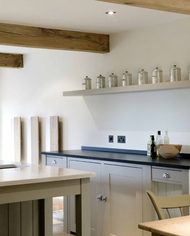 Floating shelf beams in contemporary farmhouse kitchen by plain english strip our beams