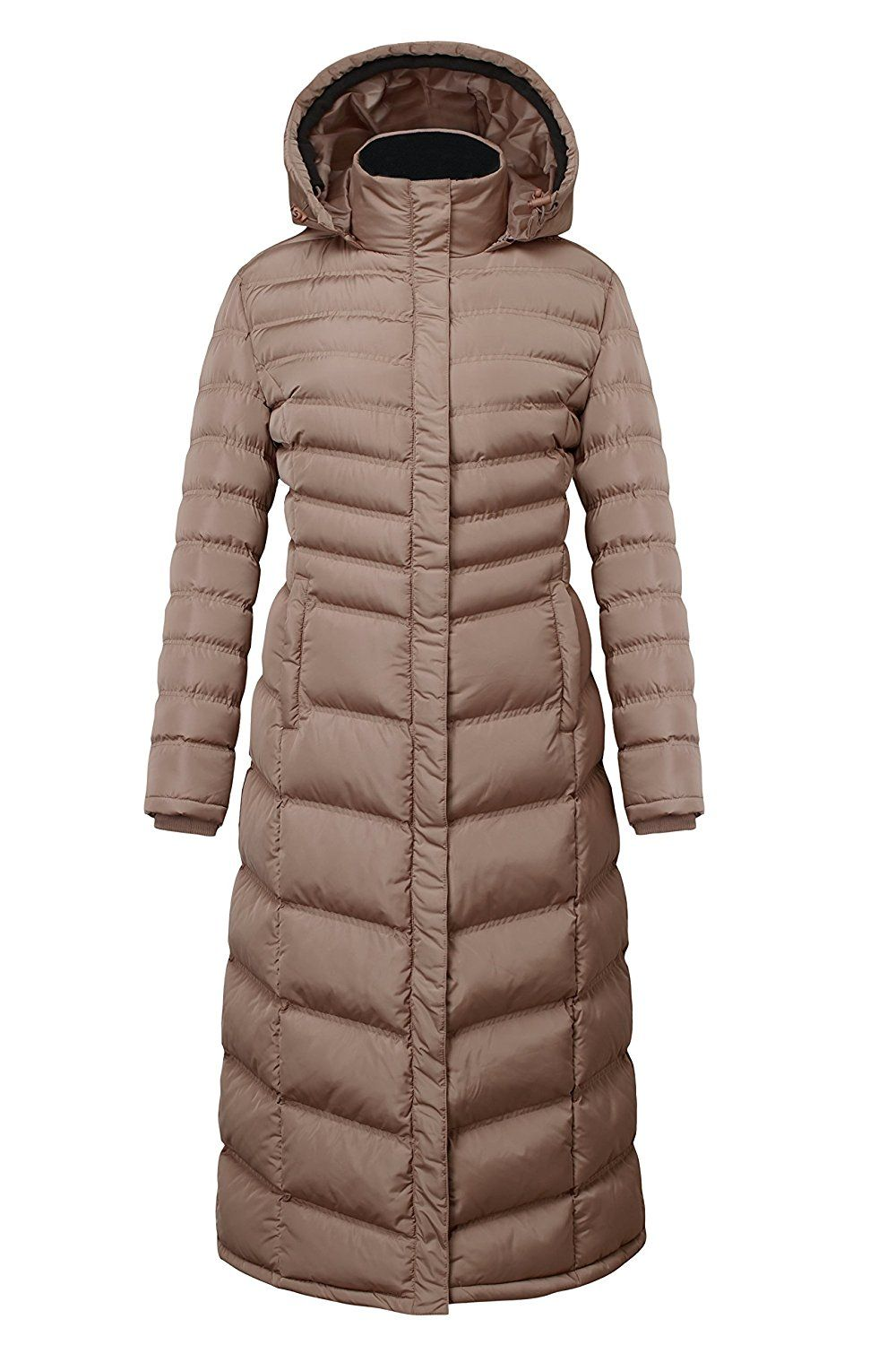 dd7a33a3c172 Elora Women s winter heavy quilt jacket fleece-Trim Hooded Full Length puffer  Coat    This is an Amazon Affiliate link. See this great product.