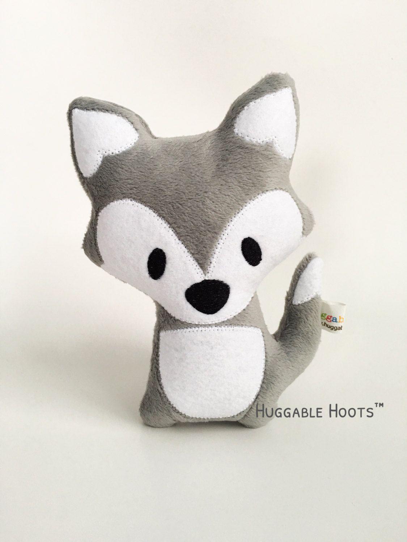 Stuffed Fox Grey Plush Fox Gray Fox Stuffed Animal Kawaii