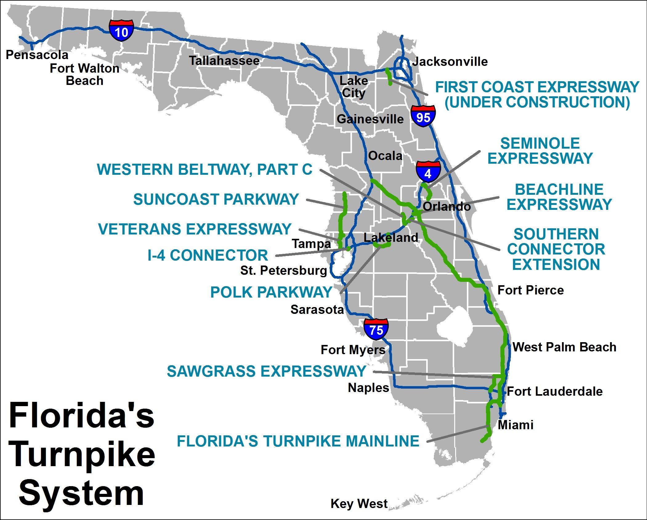 Florida Turnpike System Map SUN PASS FLORIDA Pinterest - Florida map naples fort myers